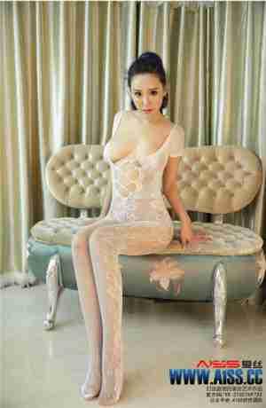 性感人体模特索菲白色连体渔网袜透视诱惑