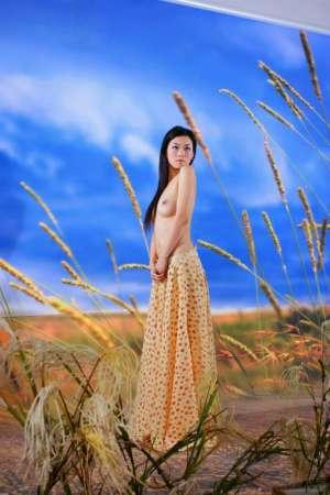 国模系列稻草从下性感美丽胴体